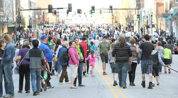A large crowd gathers early on Thursday night for the first Third Thursday of the season. The event is entering its seventh year and is sponsored by the Joplin Convention and Visitors Bureau and the Downtown Joplin Alliance. Globe | Laurie Sisk
